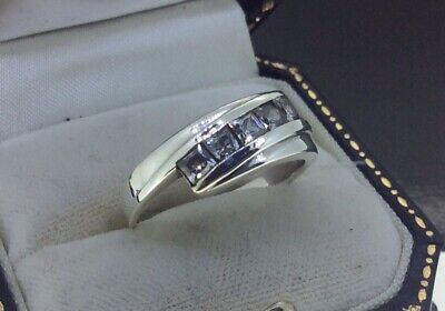 Stunning Sterling Silver 925 Sparkling Square Cut Cz Ladies 8mm Band Ring Size T • 9.99£