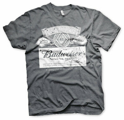 $ CDN28.59 • Buy Officially Licensed Budweiser Washed Logo Men'S T-Shirt S-XXL Sizes