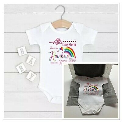 Personalised Baby Girls Vest After Every Storm Rainbow Of Hope Here I Am  Shower • 5.99£