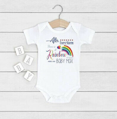 Personalised Baby Boys Vest After Every Storm Rainbow Of Hope Here Gift Set Boys • 5.99£