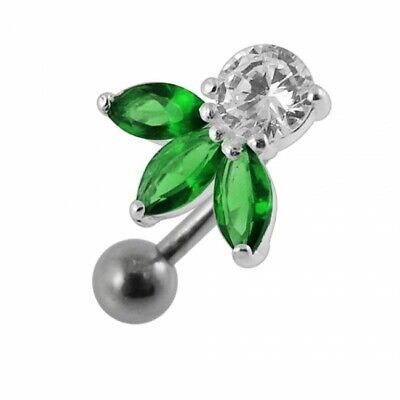 £8.95 • Buy Silver Reverse Belly Bar Green Jewelled Petals Inverted Top Drop Navel Ring