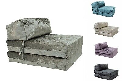 £44.99 • Buy Gilda Crushed Velvet Chair ZBed Fold Out Futon Single Guest Mattress Bed Foam