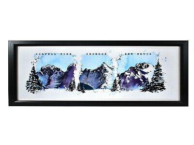 Three Peaks Mountain Art Print With Text, Unframed, 5x12 Inches, Dad Gift • 13£