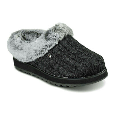Skechers Women's Bobs Keepsakes - Ice Angel Faux Fur Slippers Black W/Grey NEW! • 54.26£