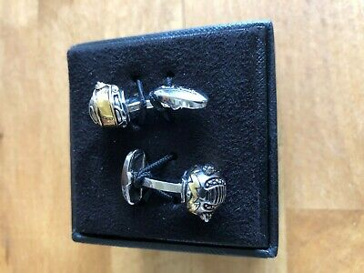£85 • Buy Authentic Paul Smith Gold And Silver-Tone Motorcycle Helmet Cufflinks Rrp £120