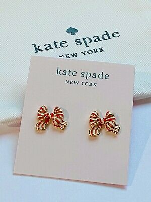 $ CDN21.76 • Buy Kate Spade  Red/white Bow Earrings Free Shipping