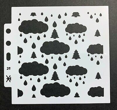Clouds And Rain Drops Mixed Media Stencil Mask Template • 2.99£