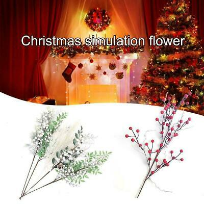 Christmas Artificial Branche Pine Berry Cone Red Fruit Fake Home Decors U4Q9 • 3.46£
