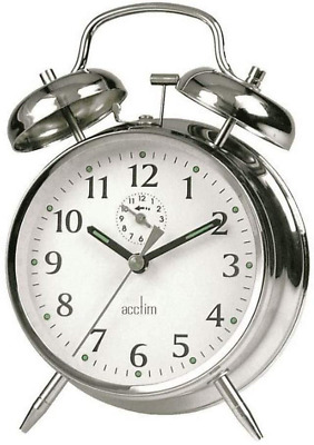 £12.26 • Buy Acctim Traditional Classic Saxon Wind Up Double Bell Alarm Clock - Chrome