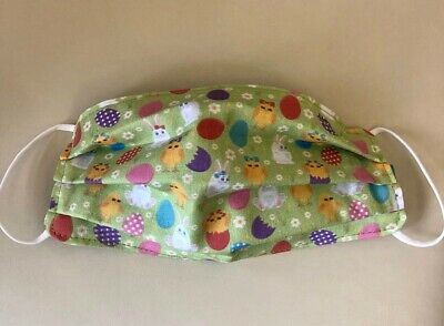Crafted Washable Fabric Face Mask Covering Adults Kids Easter Chicks & Bunnies • 7£
