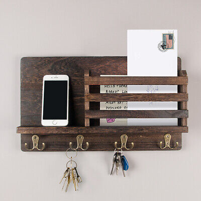 $23.86 • Buy Wall Mounted Mail Holder Wooden Mail Sorter Organizer With 4 Double Key Hooks