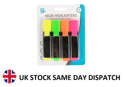 £1.98 • Buy 4 Pack Neon Highlighters Office School Fluorescent Pens Markers Bright Colours