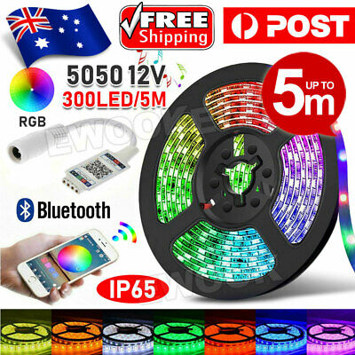 AU12.95 • Buy RGB LED Strip Lights IP65 Waterproof 5050 5M 300 LEDs 12V + Bluetooth Receiver