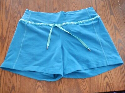 $ CDN28 • Buy Lululemon Active-wear Gym Shorts Pants Size 8 Turquoise Blue With Drawstring