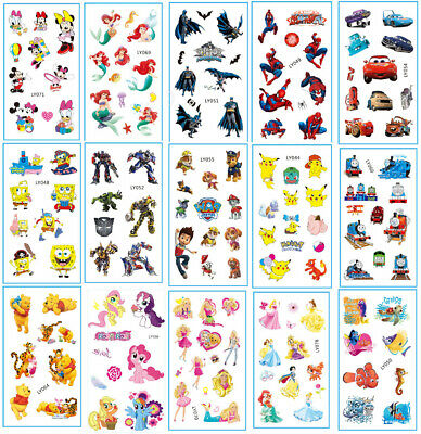 £1.68 • Buy 5 Sheet Small Temporary Tattoo 60x105mm Kids Disney Super Hero Party Bag Fillers