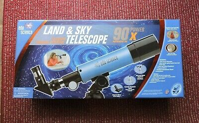£19.82 • Buy Edu-Science Land And Sky Telescope 90X Power With Table-Top Tripod - Blue