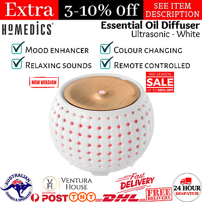 AU117.07 • Buy Homedics Ellia Gather Ultrasonic Essential Oil Mist Aroma Ceramic Diffuser White