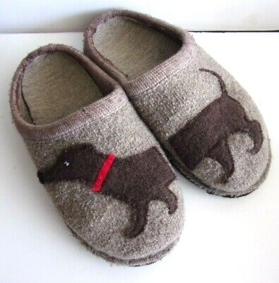 HAFLINGER Slippers Boiled Wool Size 37 US 6.5 Dachsund Dog Unique • 30.75£