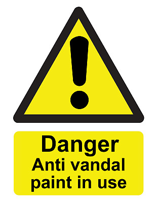 £1.58 • Buy Danger Anti Vandal Paint In Use Warning Sign Self Adhesive Gloss Sticker 160mm
