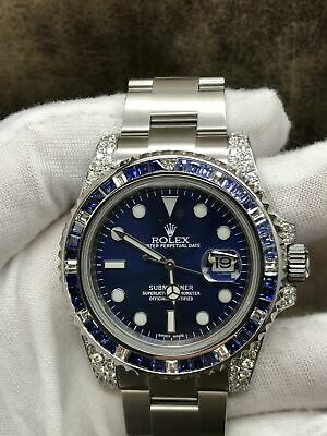 $ CDN19559.33 • Buy Rolex Submariner Date 116610 Custom Added Blue Dial Dial Automatic Men's Watch