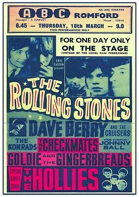 £6.99 • Buy The Rolling Stones Romford Concert Poster Wall Art  Vintage Picture Repro 1960s