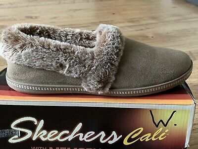 ✅New Womens SKECHERS BOBS CALI  SLIPPERS SIZE 7 MULES FAUX FUR LINED MEMORY FOAM • 28.99£