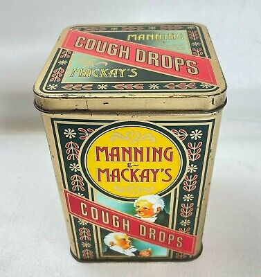 Vintage Manning & Mackays Cough Drops Storage Tin With Hinged Lid, Retro, Sweets • 12.93£
