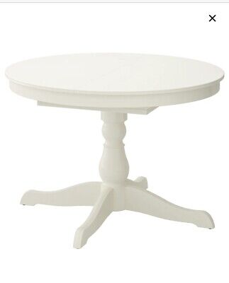 IKEA INGATORP ROUND DINING TABLE Extendable, White, 110/155 Cm, Used Condition • 65£