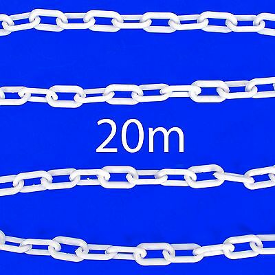 £29.99 • Buy 20M WHITE PLASTIC CHAIN Decorative Garden Patio Area Barrier Outdoor Fence/Cord