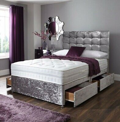 CRUSHED VELVET DIVAN BED + MEMORY MATTRESS + MATCH HEADBOARD 4FT6 Double 5FT • 159.45£