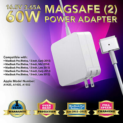 $14.96 • Buy 60W Charger Adapter For APPLE Macbook Pro 13  Retina A1502 A1435 Late 2012-2015
