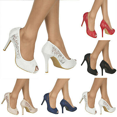 Womens Floral Lace Stiletto High Heel Open Toe Wedding Evening Pumps Shoes 3-8 • 19.51£