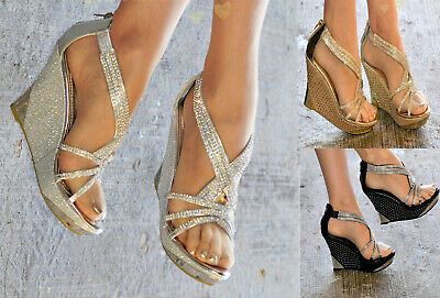 £23.95 • Buy Womens Diamante Wedge High Heel Strappy Ankle Strap Evening Prom Shoes Sizes 3-8