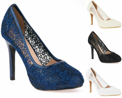 Womens Floral Lace Stiletto High Heel Full Toe Wedding Evening Court Shoes 3-8 • 19.51£