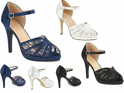 £22.95 • Buy Womens Satin Lace High Heel Peep Toe Ankle Strap Strappy Wedding Evening Sandals