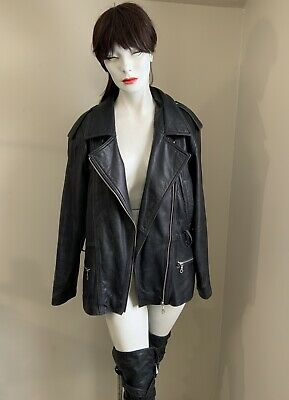 $ CDN86 • Buy DANIER Asymmetrical Zip Moto Leather Jacket Black  Small With Lining
