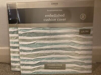 £2.34 • Buy Dunelm Mill Luxurious Non-iron Embellished Cushion Covers X 2 45 X 45 Cmapprox