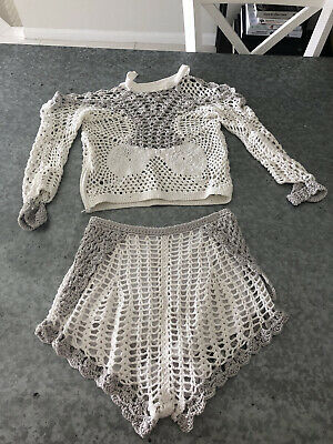 AU75 • Buy Alice Mccall Crochet Top And Shorts Set, AUS 6, Pre-Owned, Ivory And Grey.