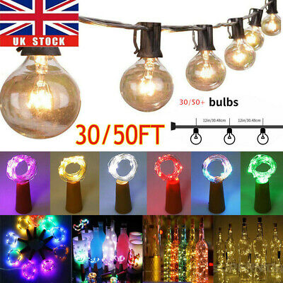 50ft Globe Festoon String Lights Mains Powered 50 G40 Bulbs Warm White Outdoor • 31.80£