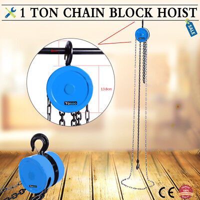 £29.29 • Buy 1 Ton 10FT Chain Block Tackle Hoist Car Engine Heavy Load Lifting Tool Winch
