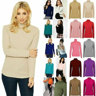 £7.49 • Buy Ladies High Roll Polo Neck Top Women's Knitted Ribbed Jumper Sweater New UK
