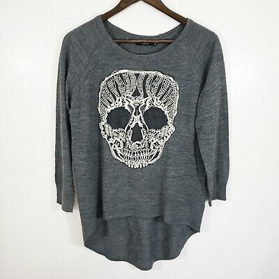 $34.99 • Buy Millau Women's Skull Sweater Size S Long Sleeve Grey Round High Low Embroidery
