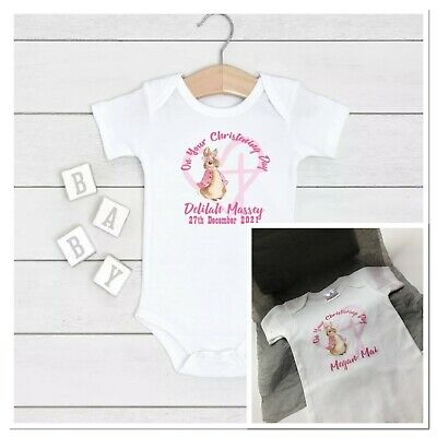 £7.99 • Buy 💕 Personalised Peter Rabbit On Your Christening Baptism Baby Girls Vest Flopsy