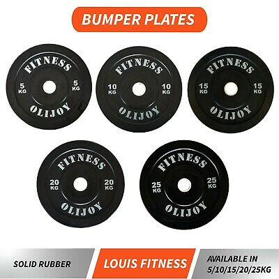AU49.41 • Buy Rubber Coated Olympic Bumper Plates 5/10/15/20/25 Kg Gym Fitness Weight Training