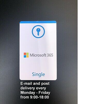 AU73.22 • Buy Microsoft Office 365 Single Official Product Key Card (EU License Only)