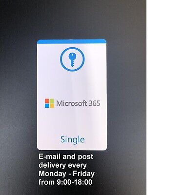 AU66.67 • Buy Microsoft Office 365 Single Official Product Key Card (EU License Only)