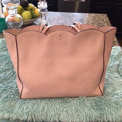 $ CDN81.95 • Buy Kate Spade Xl Pink Scalloped Satchel Pebbled Leather Purse Euc With Coa