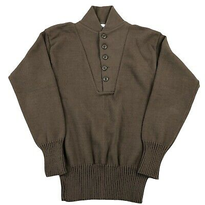 $25.99 • Buy Vintage US Army Military Issue Mans OD Sweater Sz Medium Brown 5-Button Acrylic