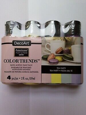 Tea Party Set Of Multi Surface Acrylic Paint For Craft, Mixed Media By Decoart • 12.99£