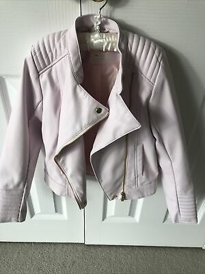 H & M Girl Biker Jacket Age 9-10 Faux Leather Baby Pink BRAND NEW WITHOUT TAGS • 12.50£